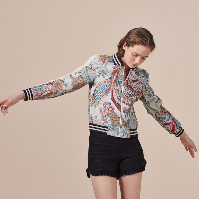 Bomber jacket with Chinese embroidery - JACKET - MAJE