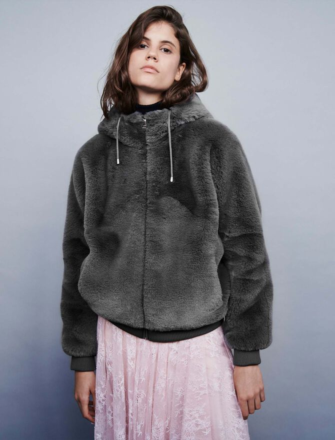 Hooded faux fur jacket - Jackets & Blazers - MAJE