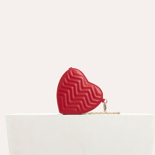 Quilted leather heart-shaped saddle bag : See all color Red