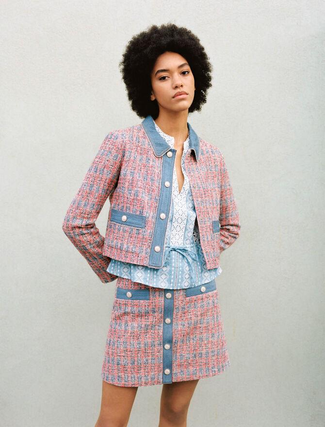 Tweed jacket with denim contrasts and Tweed Skirt With Denim Contrasts co-ord from Maje