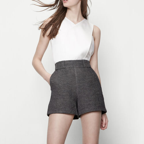Cotton and linen high-waisted shorts : Skirts & Shorts color Black 210