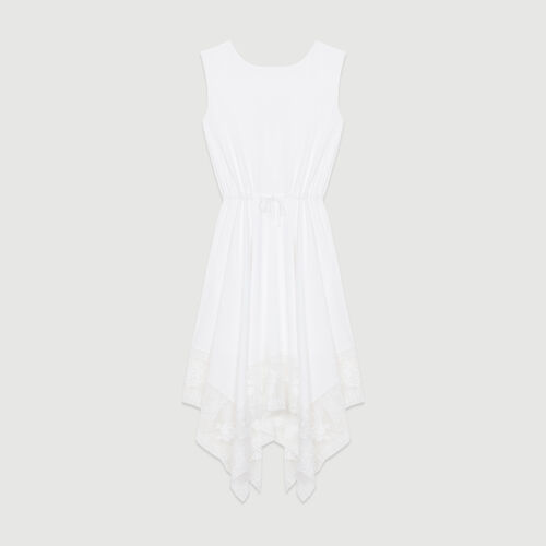 Long sleeveless dress with lace : Dresses color White