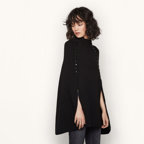 Poncho-style cape with press-studs - Mid Season Sales - MAJE