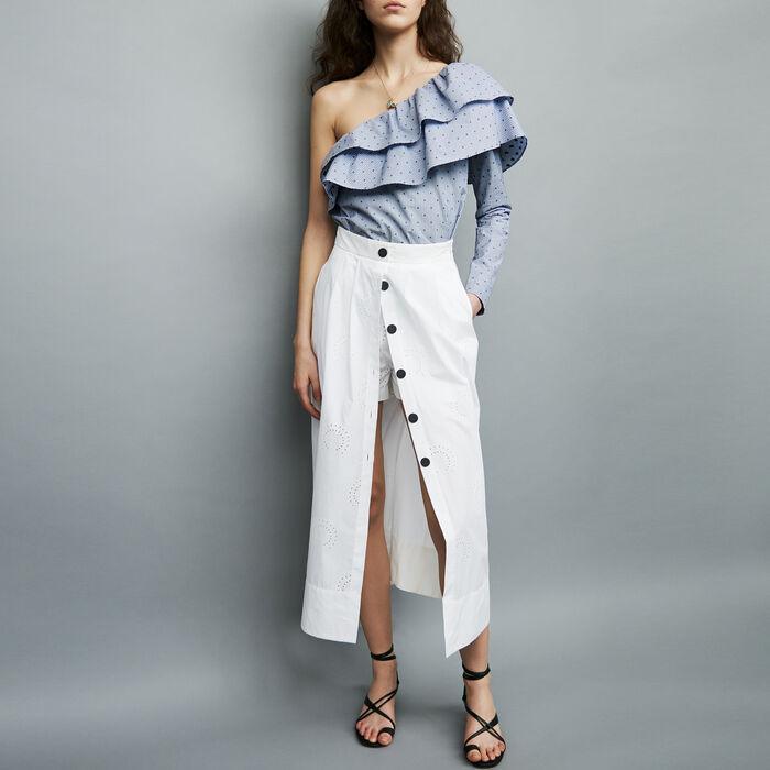 Long cotton skort : Skirts & Shorts color White