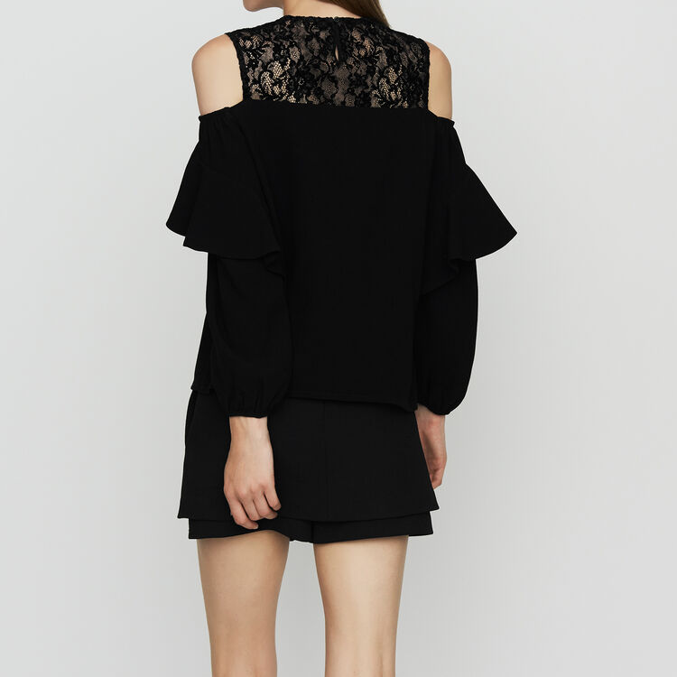 Col-shoulder top in crepe : Ready to wear color Black 210