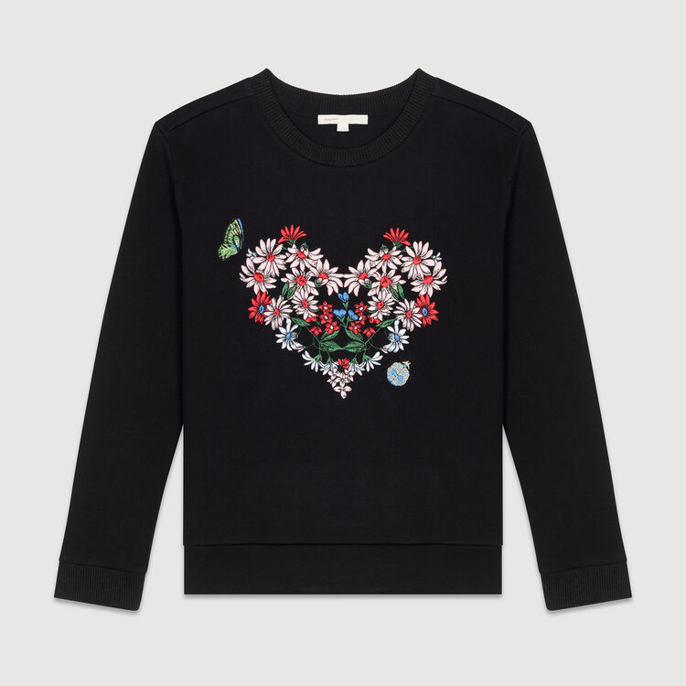 Quilted sweatshirt with embroidery : T-Shirts color Black 210