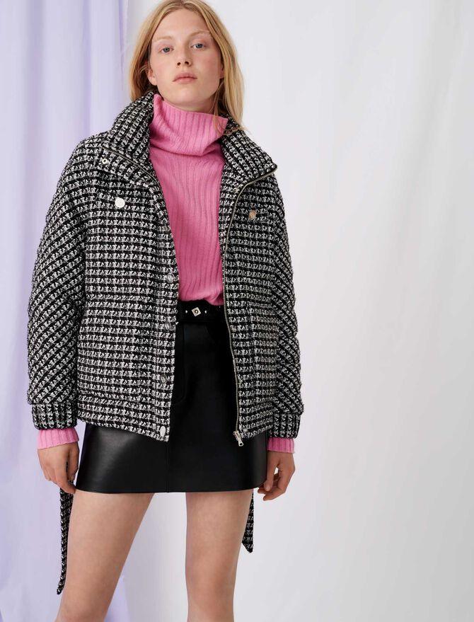 Bicolour tweed-style down jacket - Coats & Jackets - MAJE