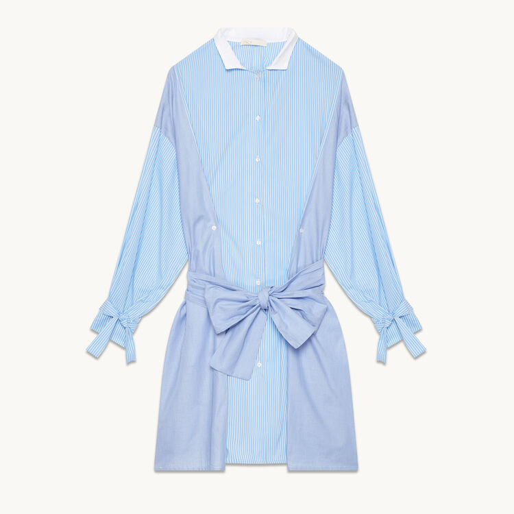 Striped shirt dress : Dresses color Blue