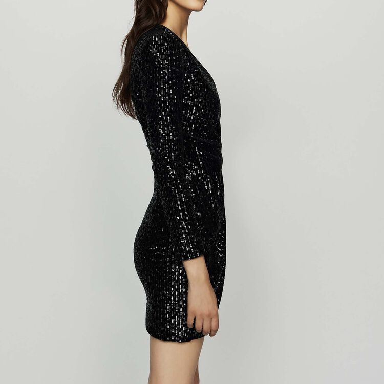 Wrap dress with velvet embroidery : Dresses color Black 210