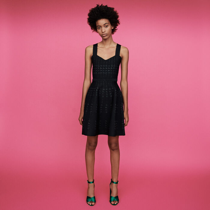 Lurex and knit dress : Dresses color Black