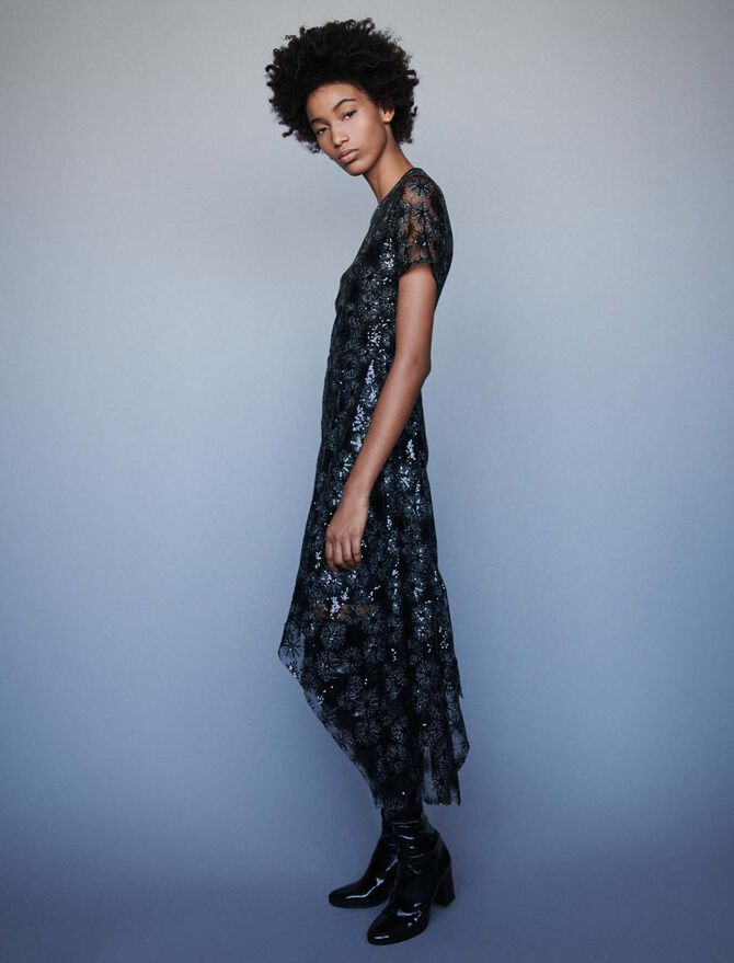 Long sequin-embroidered tulle dress - Presoldes-20 - MAJE