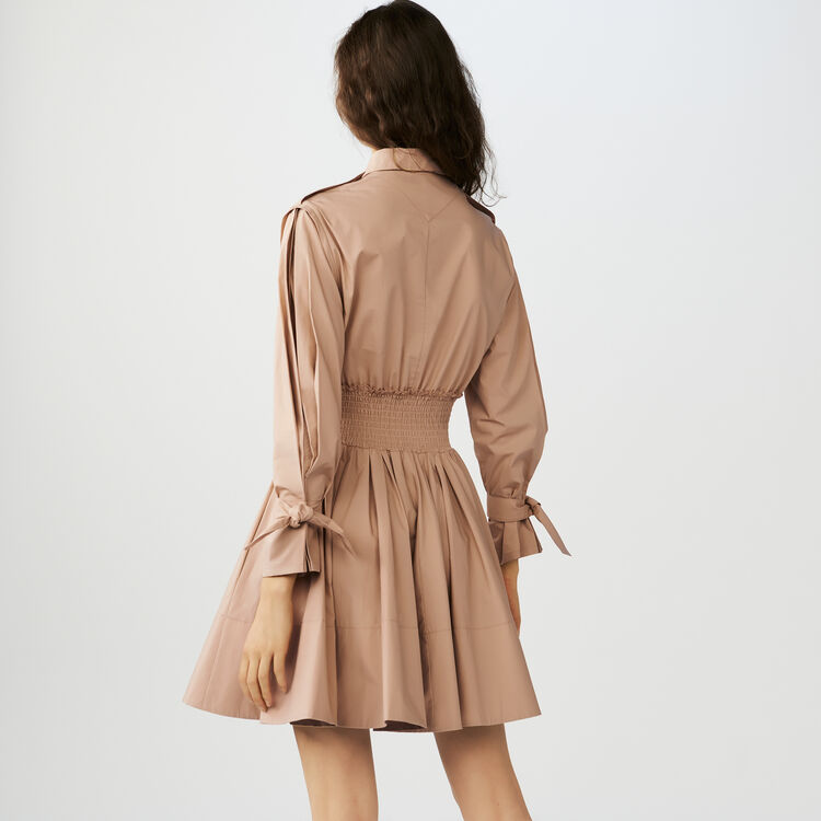 Smocked shirt dress : Dresses color Beige