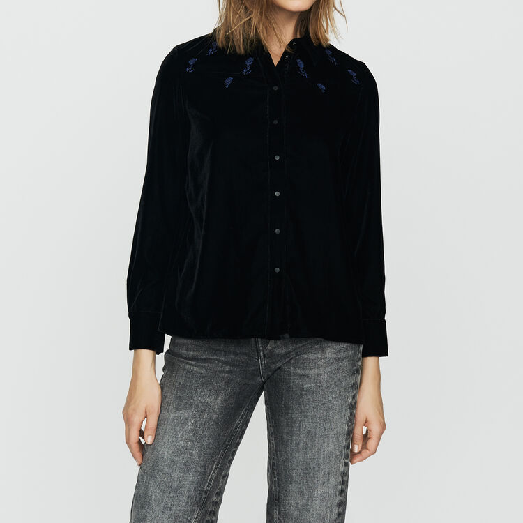 Shirt in embroidered velvet : Shirts color Black 210