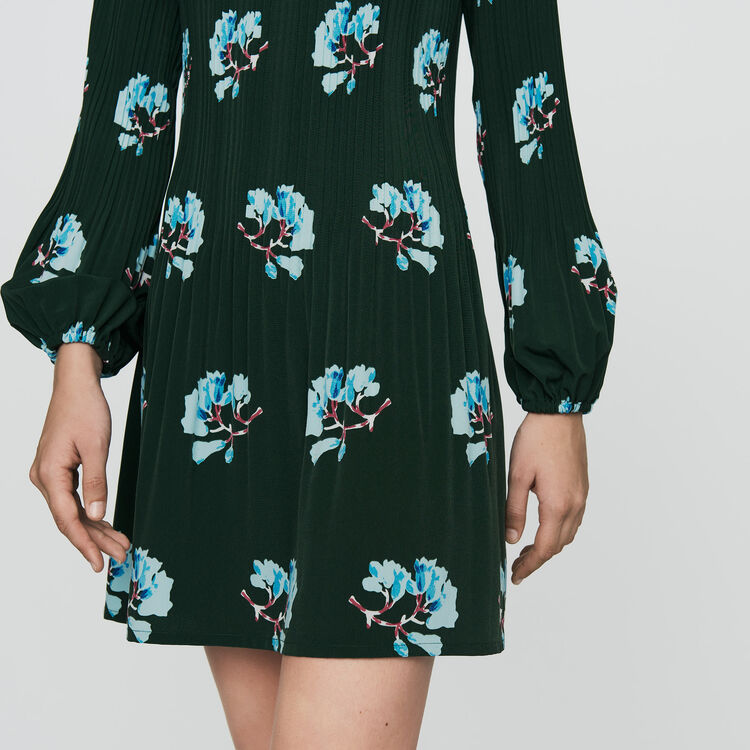 Pleated dress in floral print : Ready to wear color PRINTED