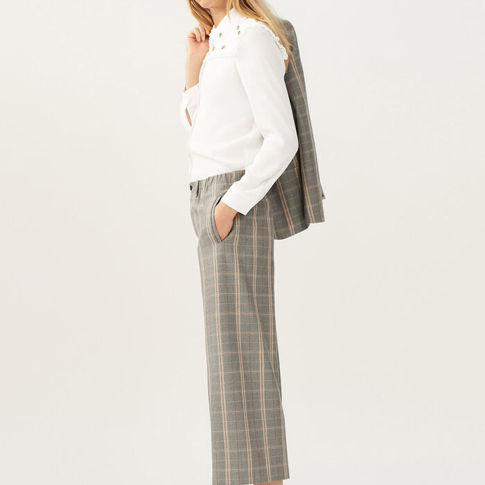 Wide-leg checked trousers : Trousers color CARREAUX