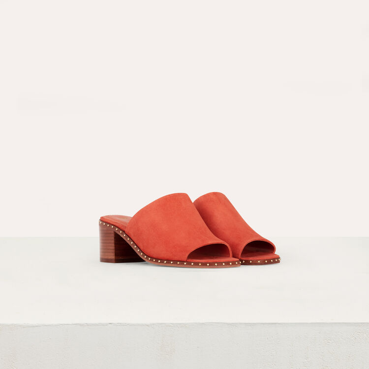 Heeled mules in suede : Slipper color Terracota
