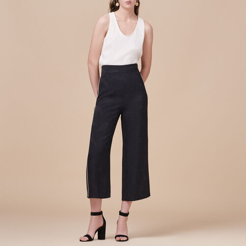 Wide-leg trousers with brocade print : Trousers & Jeans color Black 210
