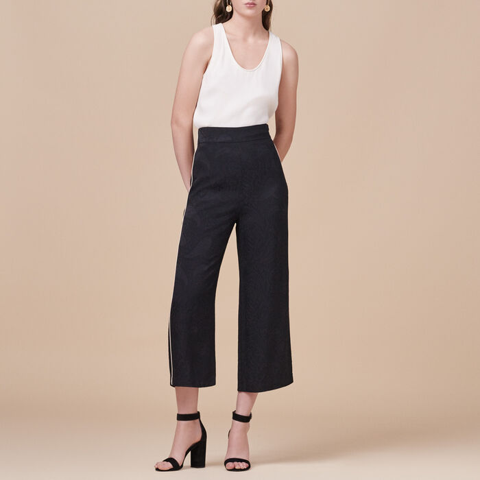Wide-leg trousers with brocade print -  - MAJE