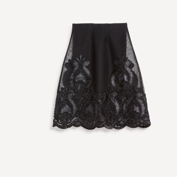 Honeycomb knit embroidered midi skirt : Skirts & Shorts color Black 210