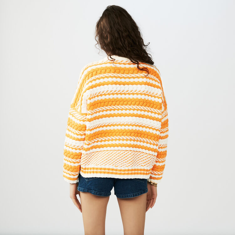 Oversize sweater in bicolor knit : Knitwear color Multi-Coloured