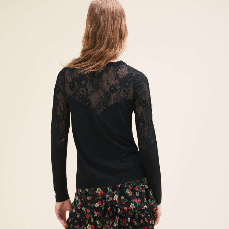 Fine jumper with lace and embroidery : Sweaters & Cardigans color Black 210