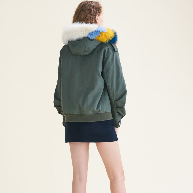 Jacket with multicoloured fur : Coats color Khaki