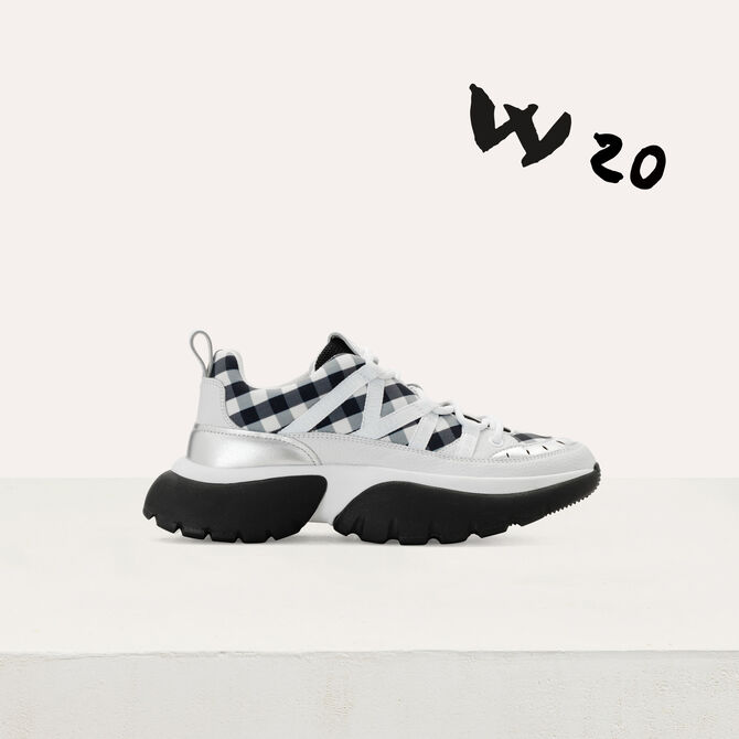 W20 urban sneakers in leather and vichy - 70% off - MAJE