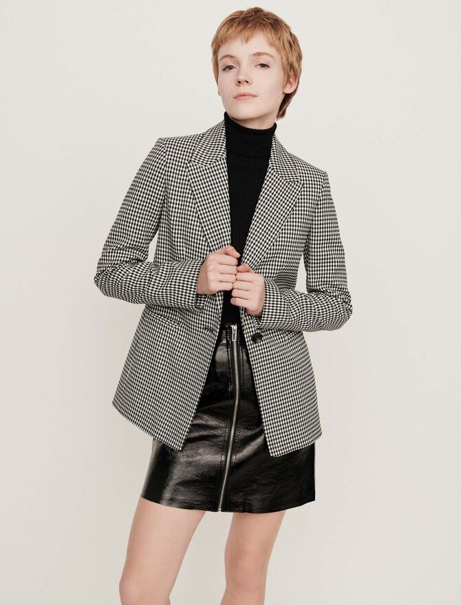 Belted houndstooth jacket - Jackets & Blazers - MAJE