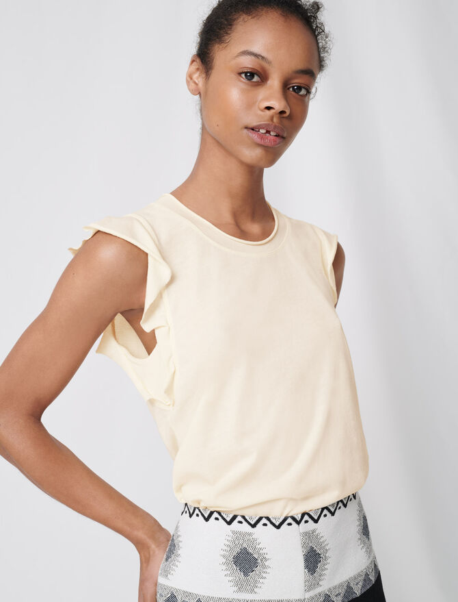 Sleeveless top with ruffles - soldes_20_BE - MAJE