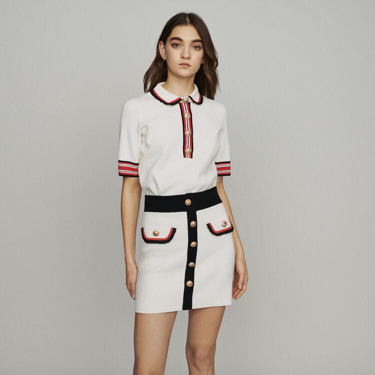 Short skirt in block-stich knit : Skirts & Shorts color Ecru