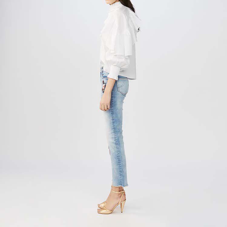 Embroidered flare jeans : Jeans color Denim