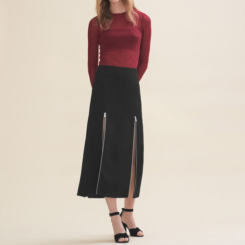 Long crêpe skirt : Skirts & Shorts color Black 210