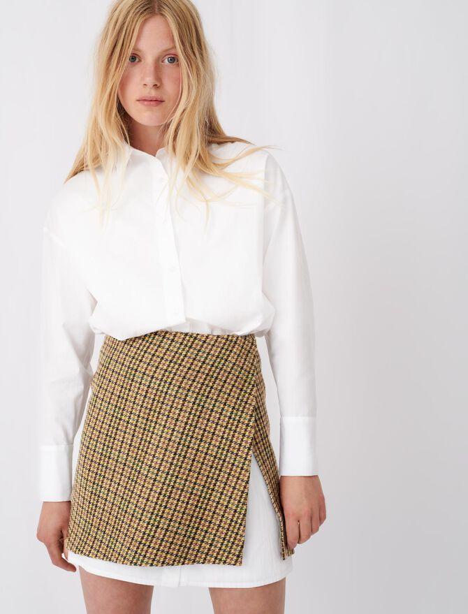 Dress in contrast check poplin -  - MAJE