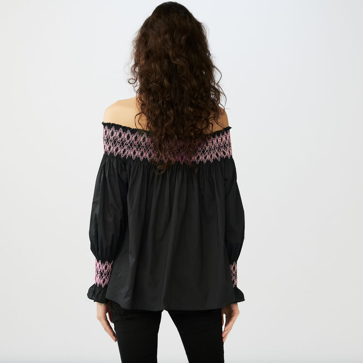 Smocked cold shoulder top : Tops color Black 210