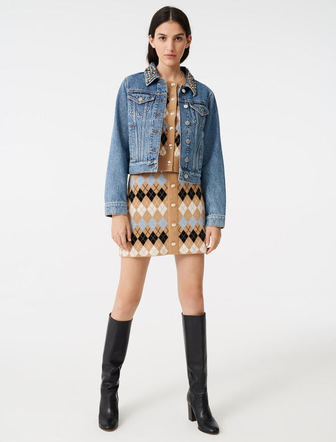 Denim jacket with gem collar -  - MAJE