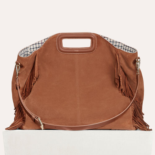 Tote with leather fringe : M Walk color Camel