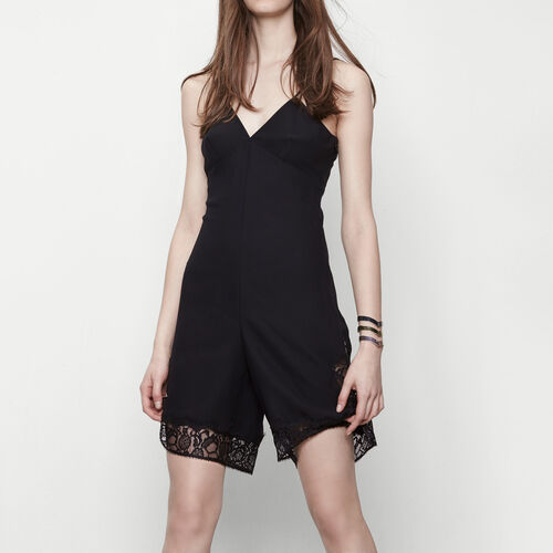 Playsuit with lace details : Skirts & Shorts color Black 210