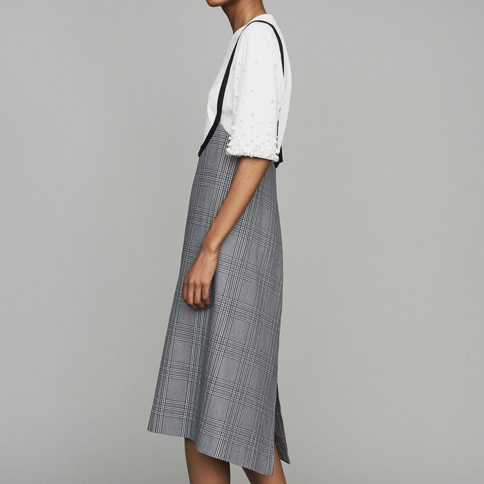 Strappy jacquard dress : New Collection color CARREAUX