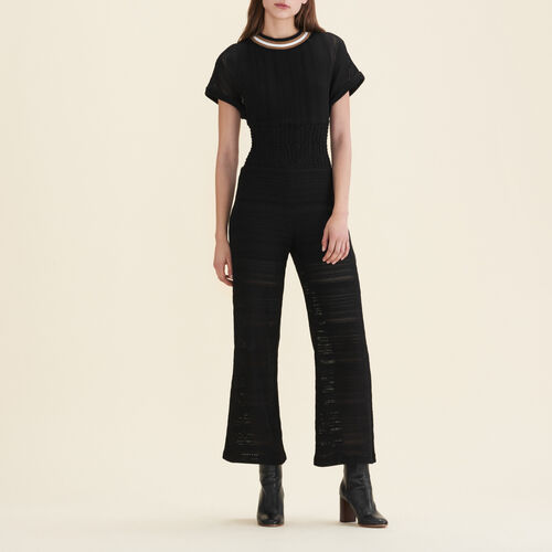 Knitted jumpsuit : Trousers & Jeans color Black 210
