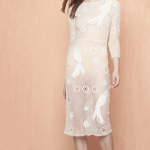 Long mesh dress with embroidery : Dresses color Ecru