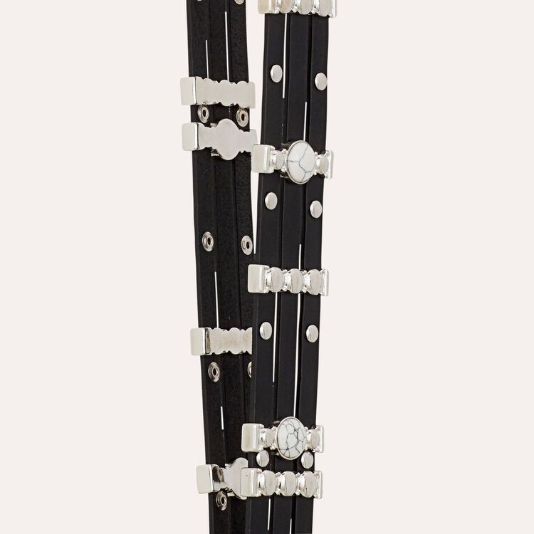 Strap in leather and novelty stones : Straps color Black