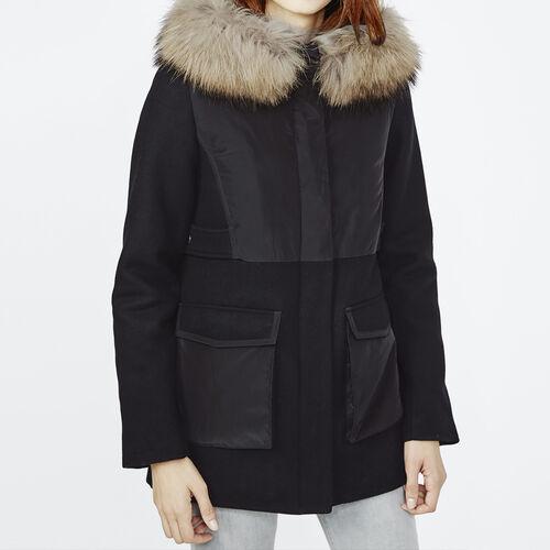 Dual fabric parka with fur hood : Coats color Black 210