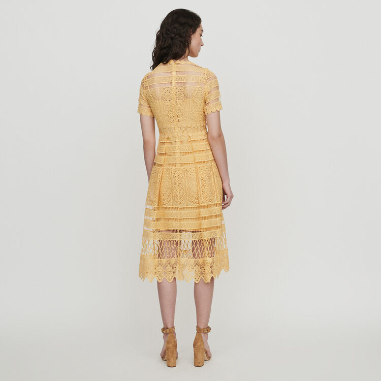 Long dress in guipure : Dresses color Yellow