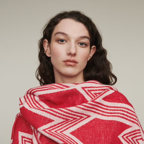 Poncho with M art deco motif : New in : Summer Collection color Red