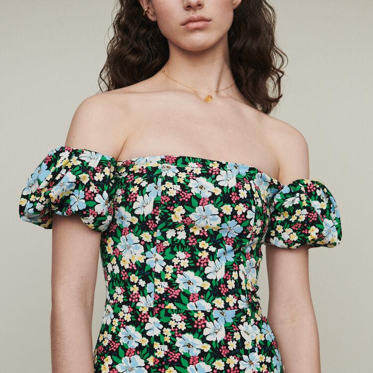 Bustier printed cold-shoulder dress : Dresses color Print