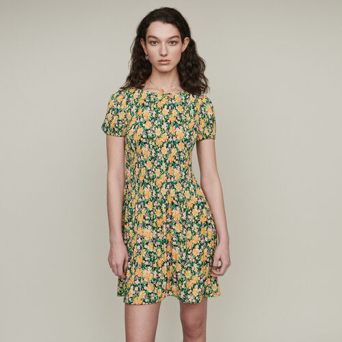 Pleated dress in floral print : Dresses color Printed