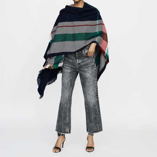 Jacquard poncho : Knitwear color Multico