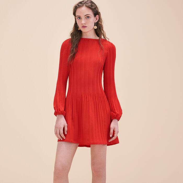 Pleated crêpe smock dress -  - MAJE