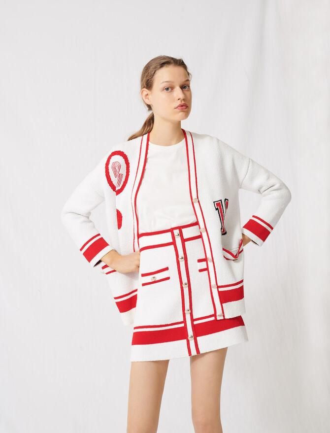 Ecru cardigan with gold buttons -  - MAJE