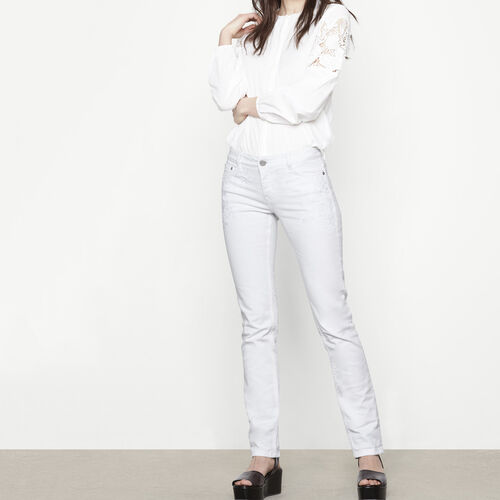 Embroidered high-waist jeans : Trousers & Jeans color White